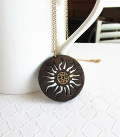 Sunburst Necklace, Wood Pendant Necklace, Inlay Jewelry, Modern Jewelry, 5th Anniversary Ideas, Sun Pendant, Fashion Jewelry, Gold Filled by giveitengraved on Etsy