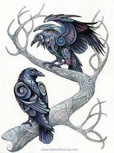 Huginn and Muninn by benu-h on DeviantArt – Norse Mythology-Vikings-Tattoo Hugin Munin Tattoo, Corvo Tattoo, Art Viking, Viking Raven, Viking Woman, Tatoo Bird, Deer Tattoo, Tattoo Ink, Epic Tattoo