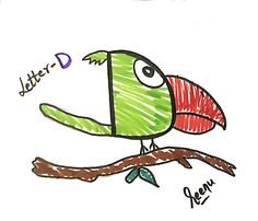 Easy Drawing ideas for kids Letter D, Art N Craft, Easy Drawings, Drawing Ideas, Kids, Crafts, Fictional Characters, Ideas For Drawing, Young Children