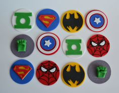 DC Fondant Toppers, Marvel Fondant Cupcake, Avengers Fondant Cupcake Toppers, Avengers cake, DC cake by AmoreConfections on Etsy Diy Cake Topper, Fondant Cupcake Toppers, Cake 5 Years Old, Marvel Birthday Cake, 5th Birthday, Avengers, Avenger Cake, Superhero Cake, Halloween Cookies