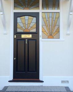 Art Deco Style Front Door - London Door Company Glass Front Door, Front Doors, Stained Glass Door, Art Deco Home, Cool House Designs, Glass Design, Door Design, Art Deco Fashion, Painting