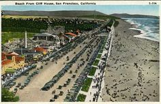 Playland and the Great Highway along Ocean Beach. Postcard from the 1920s