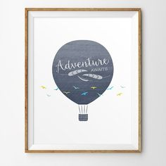 Hot air balloon nursery art Instant Download by LlamaCreation