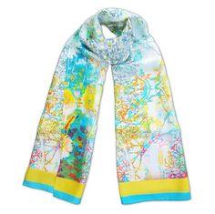 Turqouise-Branch-Habotai-Scarf. A unique printed silk habotai wrap