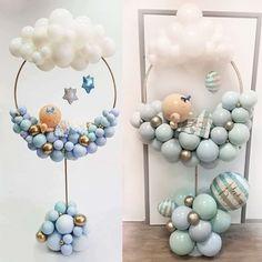 Baby Shower Balloon Decorations, Birthday Balloon Decorations, Baby Balloon, Baby Shower Balloons, Baby Shower Centerpieces, Baby Shower Themes, Baby Boy Shower, Birthday Balloon Wreath, Baloon Garland