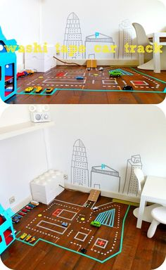 Cheap Washi Tape Craft Ideas for Kids | Washi Tape Toy Car Track by DIY Ready at http://diyready.com/100-creative-ways-to-use-washi-tape/