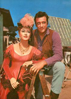 Amanda Blake as 'Miss Kitty Russell' & James Arness as 'Marshal Matt Dillon' in Gunsmoke (1955-75, CBS)