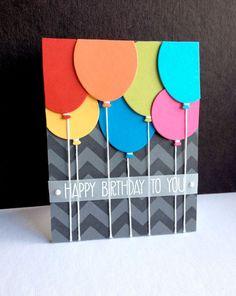 Tarjeta cumple con globos - Tarjeta de cumpleaños
