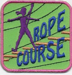Girl low high ROPE COURSE Pink Fun Patches Crest Badges SCOUT GUIDE Challenge