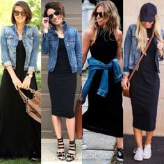 A jaqueta jeans é uma peça super verão! Ela deixa o visual descontraído e es… The denim jacket is a super summer garment! It leaves the look relaxed and stylish, so wearing it with that basic black dress that may seem more serious is Mode Outfits, Chic Outfits, Spring Outfits, Fashion Outfits, Womens Fashion, Late Summer Outfits, Fashion Top, Spring Fashion, Black Dress Outfits