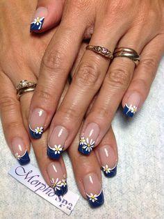 Azul con margaritas