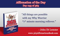 """""""All things are possible with my Why Warrior *7* minute morning rollover."""" - John Di Lemme  #johndilemme #faithstands #fearruns #faithstandsandfearruns"""