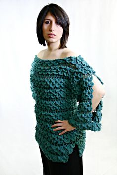 Crochet Pattern Crocodile Stitch Rainforest Blouse. $6.00, via Etsy.