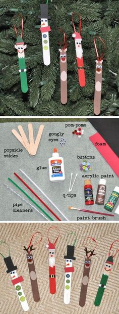 Personagens de Natal feitos com palito de picolé - DIY - 10 ideias de decoração de Natal para fazer com as crianças | Macetes de Mãe