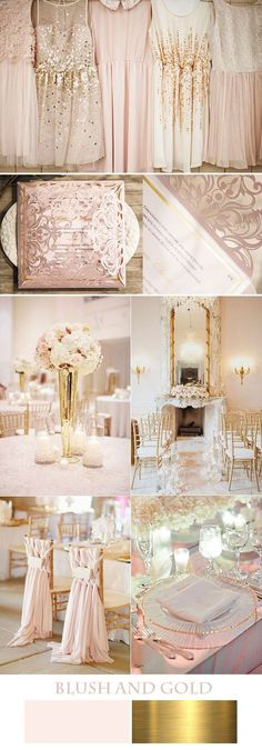 Blush and gold.  Find your color combination at www.pinterest.com/laurenweds/wedding-decor