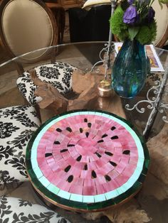Custom made stained glass mosaic watermelon lazy Susan