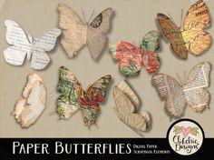 Paper Butterflies Digital Scrapbook Clip Art Elements - Ephemera Butterflies Embellishments by ClikchicDesign #photoshop #graphic #design by Clikchic Designs