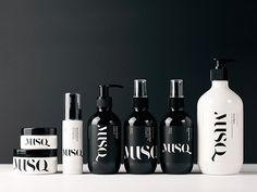 """""""MUSQ is an Australian made, natural make up and skin care range. Musq uses real ingredients for real results with no hidden ingredients or hidden agenda. Black Squid Design have created a sleek and upmarket brand for MUSQ Natural Cosmetics, using black and white and creating a strong unified look applied to all products."""""""