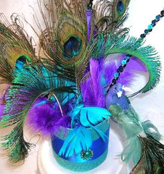 Peacock Wedding Cake Topper Feathers Sparkle Bling by sljbridal, $49.95