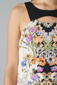 Mirrored Floral Print Dress (Off-white)