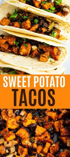 Sweet potato black bean tacos - easy and tasty meatless dinner recipe! Vegan Sweet Potato Recipes, Vegan Mexican Recipes, Tasty Vegetarian Recipes, Vegetarian Dinners, Veggie Recipes, Whole Food Recipes, Cooking Recipes, Healthy Recipes, Vegetarian Mexican Food