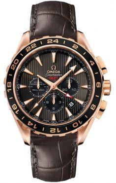 Omega Seamaster Aqua Terra Chrono Men Solid Rose Gold Brown Leather Strap 231.53.44.52.06.001 Free Overnight Shipping