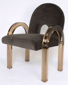 "luciledemory: ""Charles Hollis Jones Smoked Lucite ""Arch"" Dining Chairs """