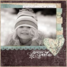 """Snow Cute"" Winter Page. Layout by Michelley_Jelly. Kids Scrapbook, Christmas Scrapbook, Scrapbook Paper Crafts, Scrapbook Cards, Scrapbooking Ideas, Scrapbook Sketches, Scrapbook Page Layouts, Picture Layouts, Large Photos"