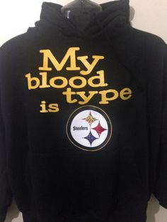 """#Pittsburgh #Steelers limited edition for the sport fans. Made with the finest fashion and specialty holographic vinyls. Looks good. Feels great. Durable and lasts many washes.     Story behind the design: I spotted this meme I liked that said """"My Blood type is NY"""". After scanning it in and manipulating it a lil bit, I realized I could replace the """"NY"""" with pretty much anything I wanted. And so the """"My Blood type"""" sports hoodie was created.    Team: Pittsburgh Steelers  Sizes Available…"""