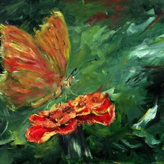 'Impressionistic butterfly on carnation' Metal Print by Dekoratorium Designs Carnations, Impressionist, Painting Portraits, Butterfly, Shirt, Floor, Oil, Metal, Design