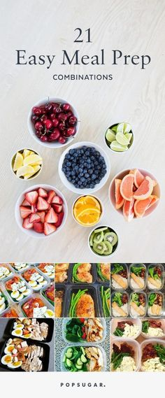 Simple meal prep combinations that will save you time and money. All are filling… Simple meal prep combinations that will save you time and money. All are filling, healthy, and packed with protein. Quick Healthy Meals, Healthy Snacks, Easy Meals, Healthy Options, Healthy Food Prep, Vegan Meals, Eating Healthy, Healthy Mean Plan, Filling Healthy Foods