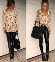 OBSESSED leather leggings with a flowy blouse and black heels. Tons of styles at boohoo too for super cheap.