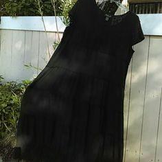 LOLA P. - WOMAN BLACK 100% BOHO Black, tiered long Boho dress with top of lace and crocheting on the hem - gently worn twice - 100%cotton- - Size 2X Lola P. Dresses Maxi