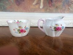 Shelley China England Pink Rose & Red Daisy Creamer & Sugar Ludlow