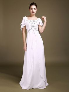 Butterfly Sleeve Chiffon Wedding Gown