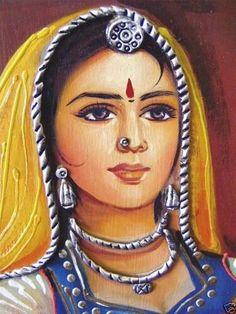 Rajasthani Painting, Rajasthani Art, Indian Women Painting, Indian Art Paintings, Woman Painting, Figure Painting, Acrylic Painting Canvas, Watercolor Paintings, Indian Folk Art