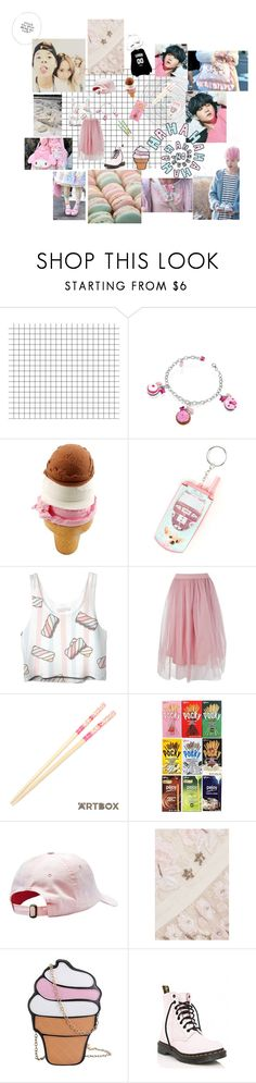 """"""":)."""" by bringmethebulletprooflasagne ❤ liked on Polyvore featuring Dolci Gioie, claire's, Boohoo, Needle & Thread and Dr. Martens"""