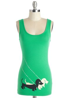 Here, Pair, and Everywhere Top. Anywhere you wander, you take the team of Dachshunds screen printed on this tank top with you. #green #modcloth