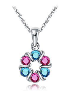 Collar cristal cadena de moda-(Sheinside)