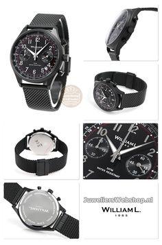 dc9435ec2 William L Horloge WLIB01NRMMN Chrono Edelstaal Zwart. William L 1985  Horloge WLIB01NRMMN Vintage Style Chronograaf