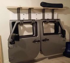 DIY rack for Jeep doors Jeep Wrangler Doors, Jeep Doors, Jeep Tj, Jeep Wrangler Unlimited, Jeep Rubicon, Jeep Wrangler Accessories, Jeep Accessories, Jeep Racks, Jeep Hard Top