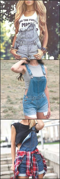 Cute Denim Overalls Shorts Casual Outfit Ideas for Women for Teens with Crop Top Fashion 2017 at Denim Overall Shorts, Jeans Overall, Overall Shorts Outfit, Denim Overalls Outfit, Cute Overalls, Overalls Women, Overalls Fashion, Summer Outfits For Teens, Casual Fall Outfits