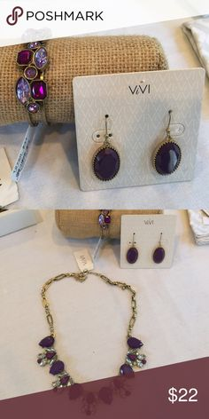 Royalty Purple Crystal Drop Earrings Rich purple oval drop earrings, fish hook, matches Necklace and bracelet shown, bundle and save Vivi Jewelry Earrings