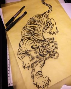 Tiger drawing ready to go - good for thigh, ribs, belly etc.. dozermail@icloud.com if you want it #tiger #tattoo