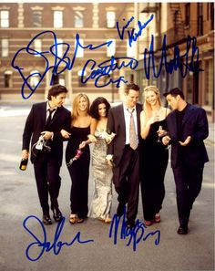 FRIENDS photo cast signed DAVID SCHWIMMER, MATTHEW PERRY, MATT LEBLAC, JENNIFER ANISTON, LISA KUDROW COURTNEY COX