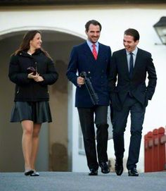 (L-R) Princess Theodora her older brother Prince Nikolaos and youngest brother Prince Philippos during Danish Royal Christmas 2014 Family gathering at Fredensborg Palace.