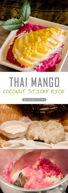 Mango Coconut Sticky Rice - Pretty in pink! This EASY dessert is the perfect… Asian Desserts, Easy Desserts, Asian Recipes, Dessert Recipes, Potluck Recipes, Pudding Recipes, Burger Recipes, Thai Recipes, Sweet Desserts