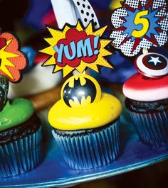 SImple Superhero Cupcakes with Plastic Rings & Call-Out Flags
