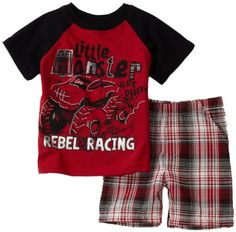 Little Rebels Baby-boys Infant Little Monster Printed Jersey With Matching Plaid Short Set  http://www.amazon.com/gp/product/B005N3S7X6?ie=UTF8&tag=httpinboxprof-20&linkCode=xm2&camp=1789&creativeASIN=B005N3S7X6
