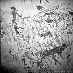 Afrikanische+Felsbilder+-+afrikanische+Höhlenmalerei,+2500+v.Chr.